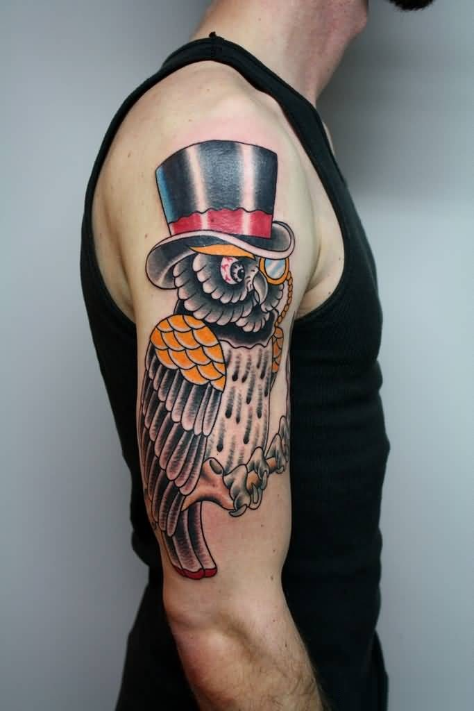 Funnt 3D Animated Owl With Hat Tattoo On Men Sleeve