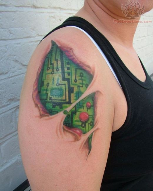 Green And Black 3d Chip Tattoo On Men Shoulder