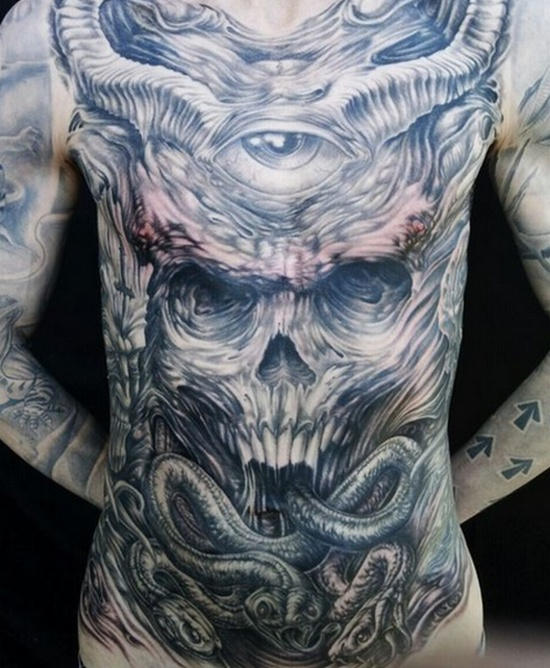 Grey Ink 3d Demon Skull And Third Eye Tattoo On Men Front Body