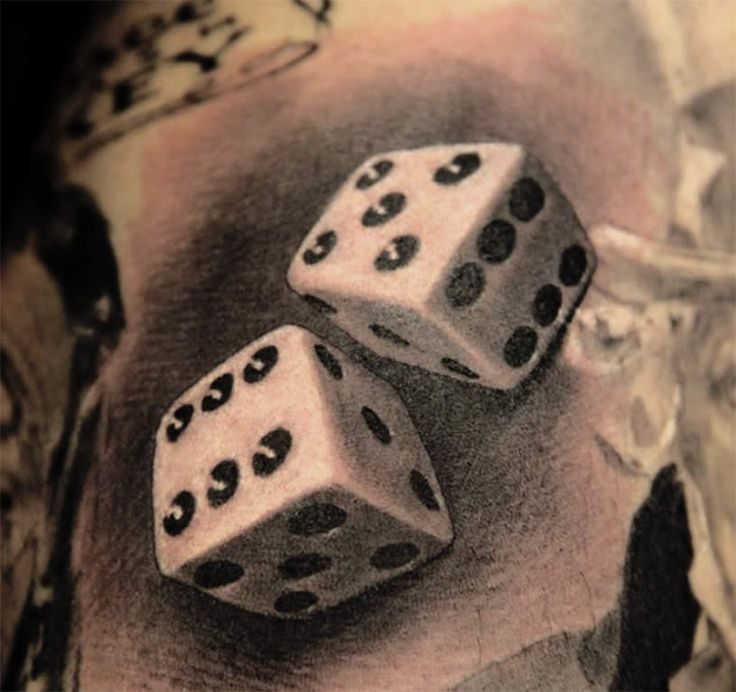 Grey Ink 3d Dice Tattoo Design Idea