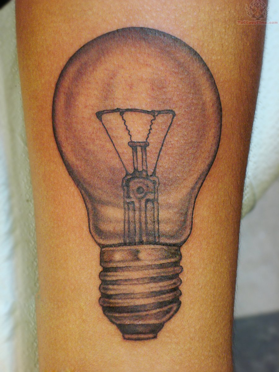 Grey Ink Bulb Tattoo On Men Sleeve