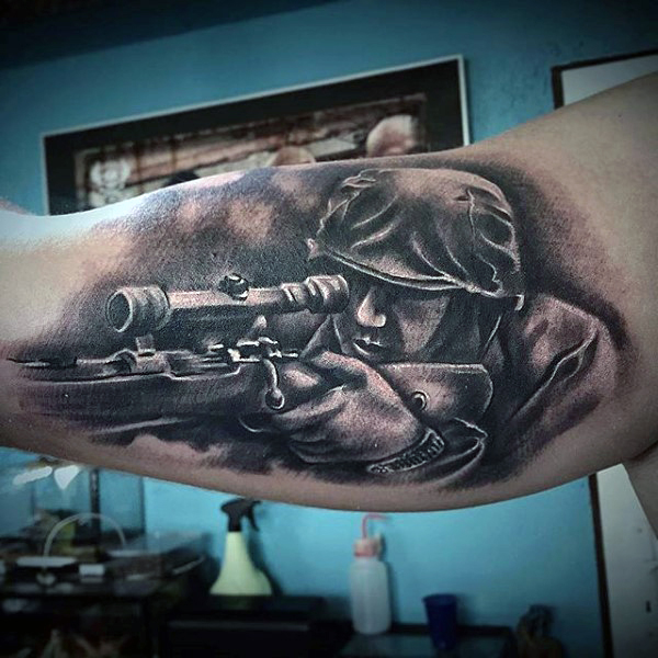 Grey Ink Cool Army Sniper Tattoo On Men Biceps
