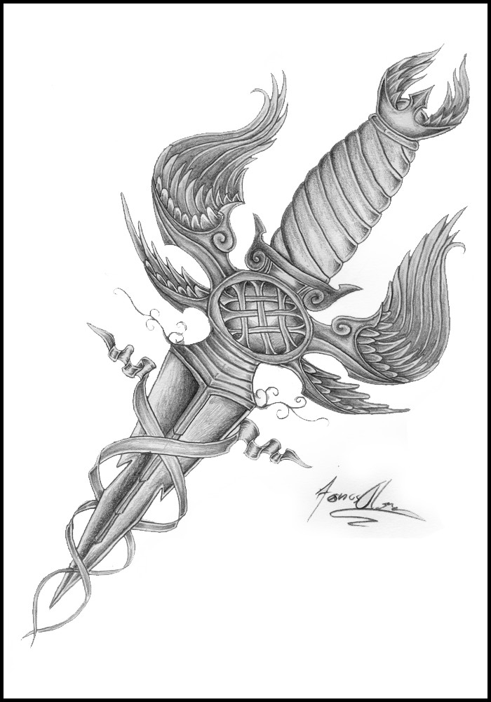 Grey Ink Dagger With Angel Wings Tattoo Design