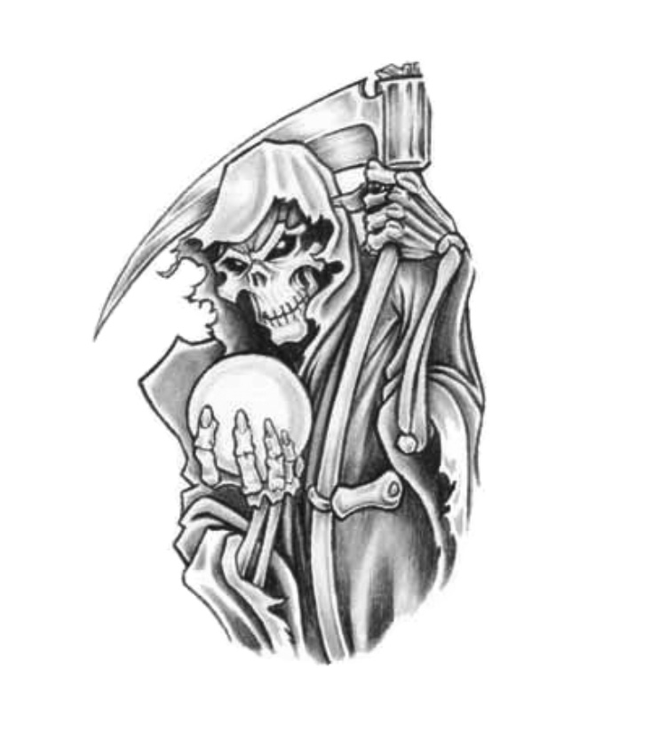 Grey Ink Death Grim With Magical Ball Tattoo Design