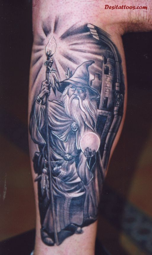 Grey Ink Fantasy Magician Tattoo On Men Inner Arm