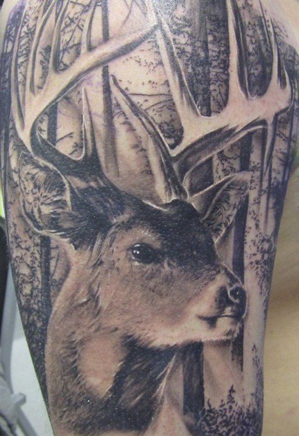 Grey Ink Forest And Deer Tattoo Design For Men Shoulder