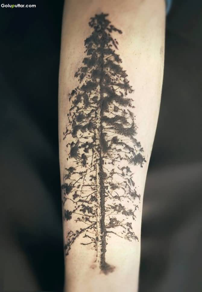 Grey Ink Old Tree Tattoo On Men Arm