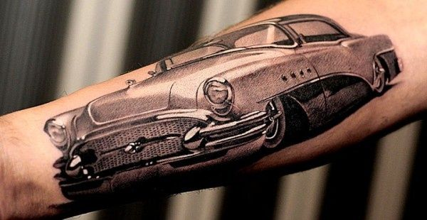 Grey Ink Old Vintage Antique Car Tattoo Design Idea