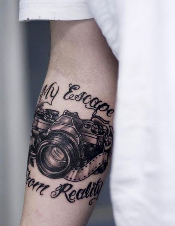 Grey Ink Old Vintage Camera Tattoo On Men Lower Sleeve