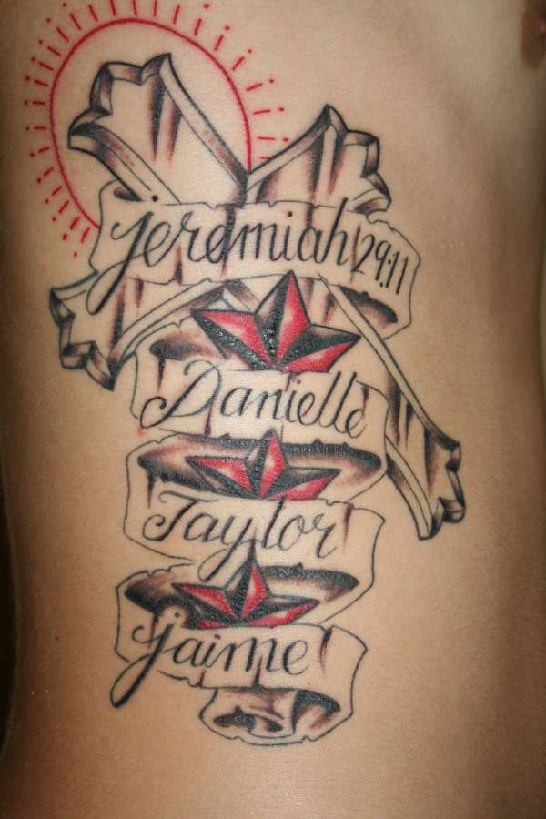 Holy Cross And Banner With Name Tattoo On Ribs