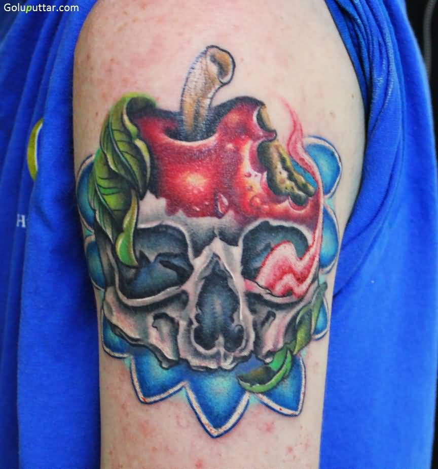 Horrible 3d Apple Skull Tattoo For Men Shoulder