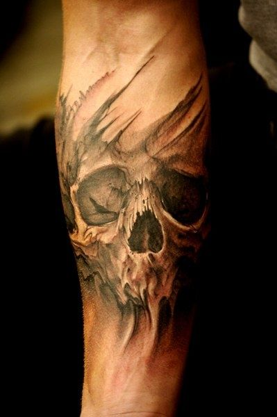 Horrible 3d Death Skull Tattoo On Men Sleeve