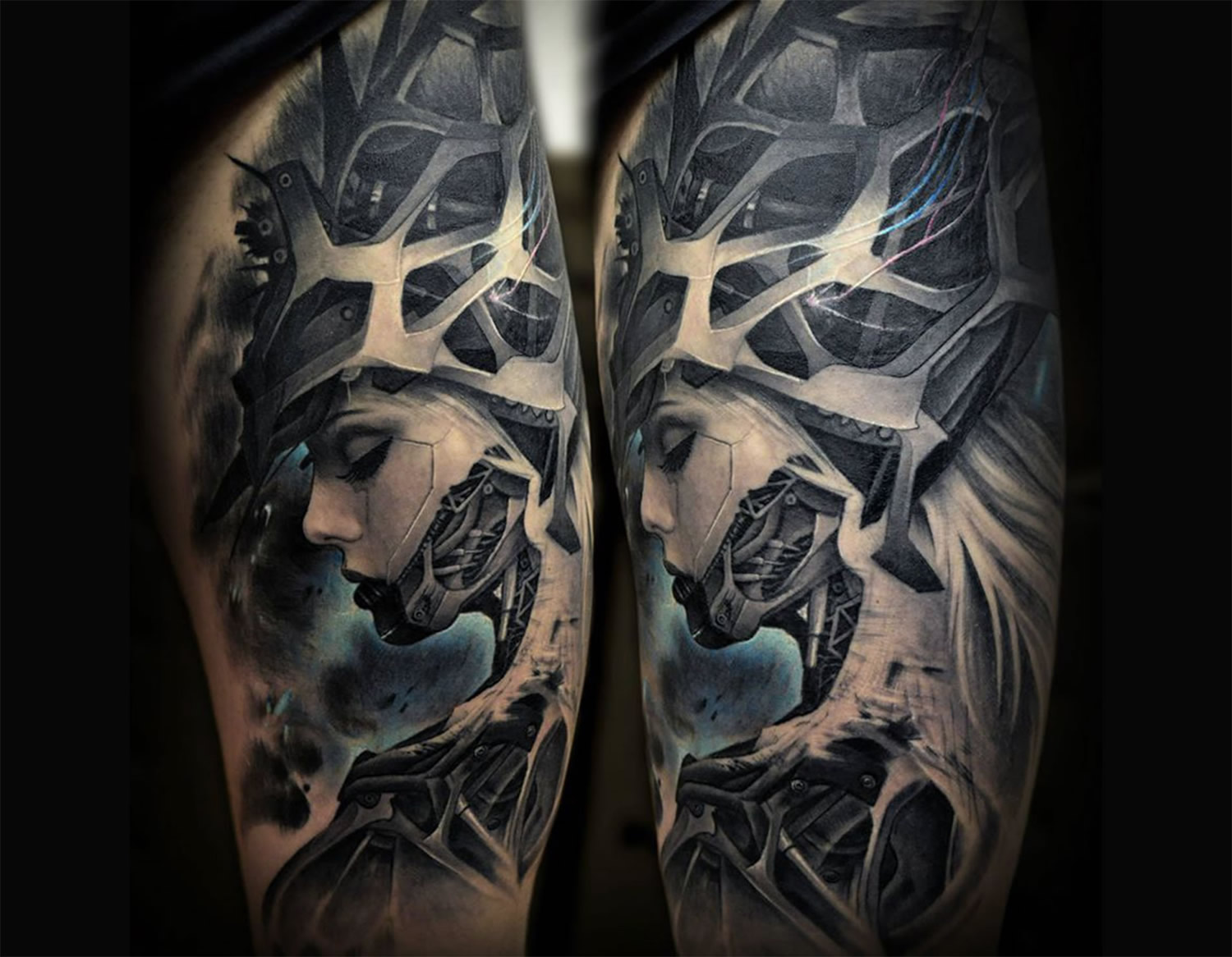 Impressive Biomechanical Girl Tattoo Design