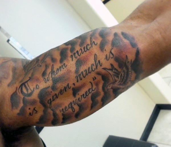 Impressive Old Literary Tattoo On Men Biceps