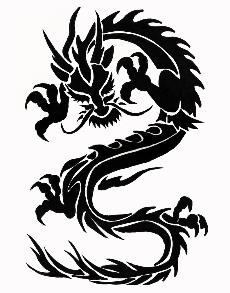 Impressive Tribal Dragon Tattoo Design Idea