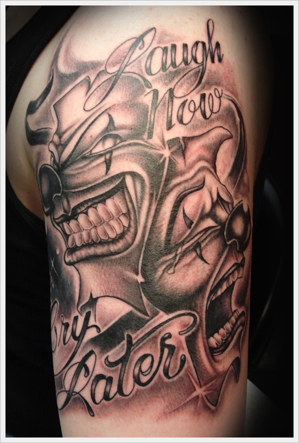 Laugh Now Cry Later Clown Face Mask Tattoo On Men Shoulder