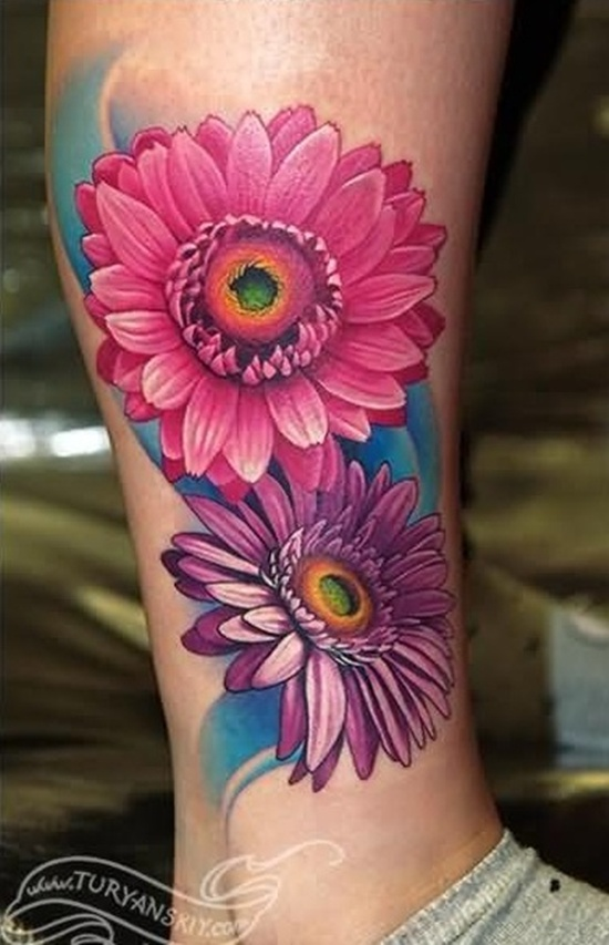 Lovelt 3d Pink Daisy Tattoo On Girl Side Leg