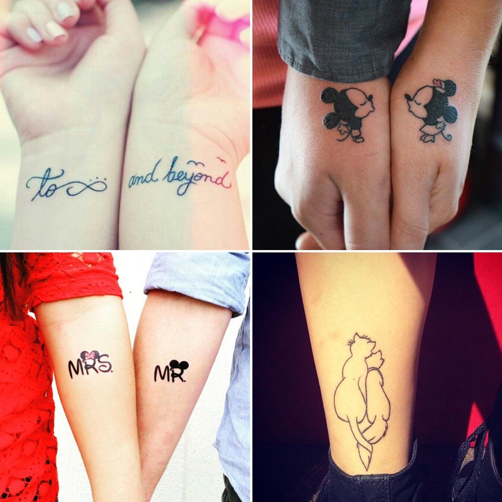 Lovely Black Ink Tattoo Designs For Best Couple