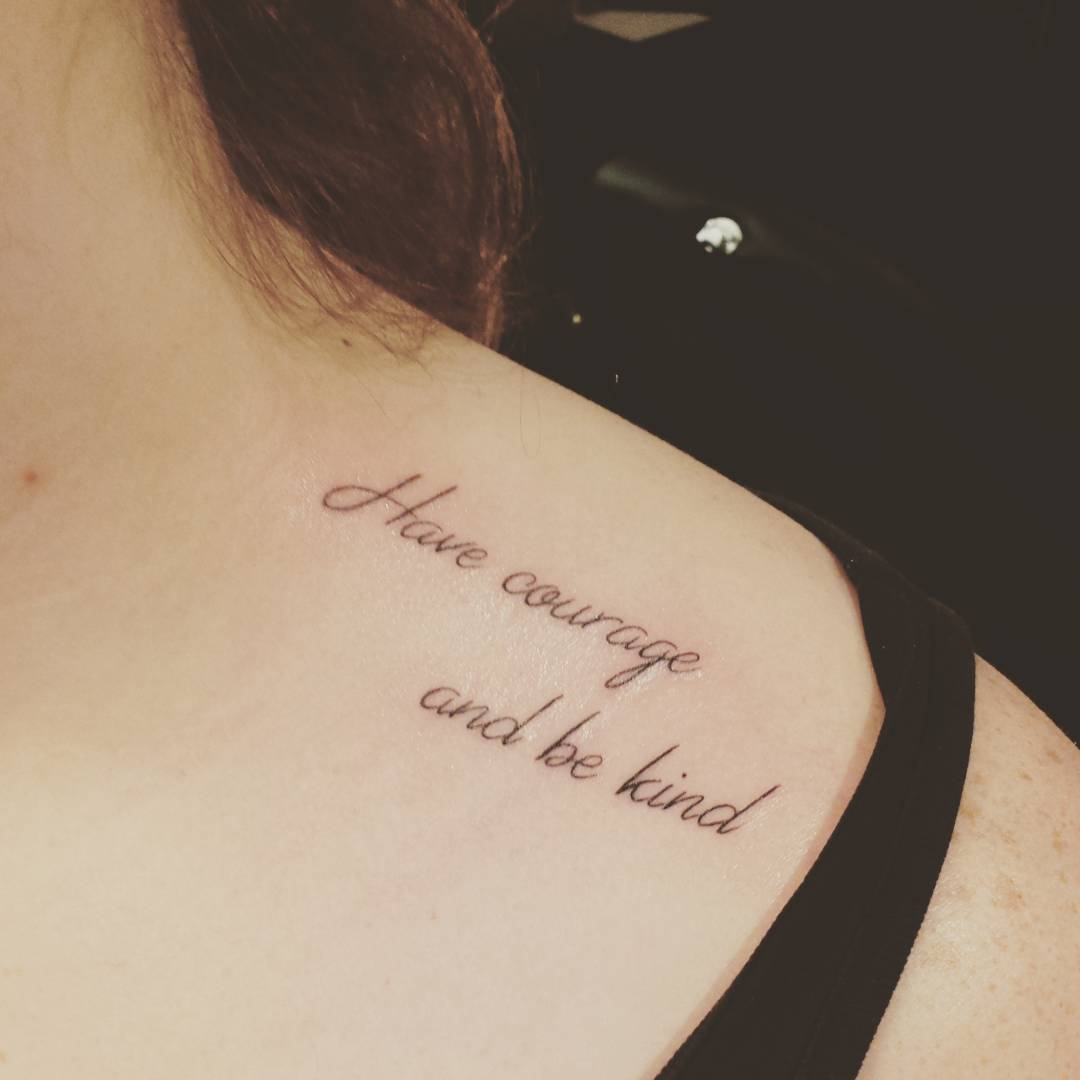 Lovely Collar Bone Tattoo Of Famous Quote