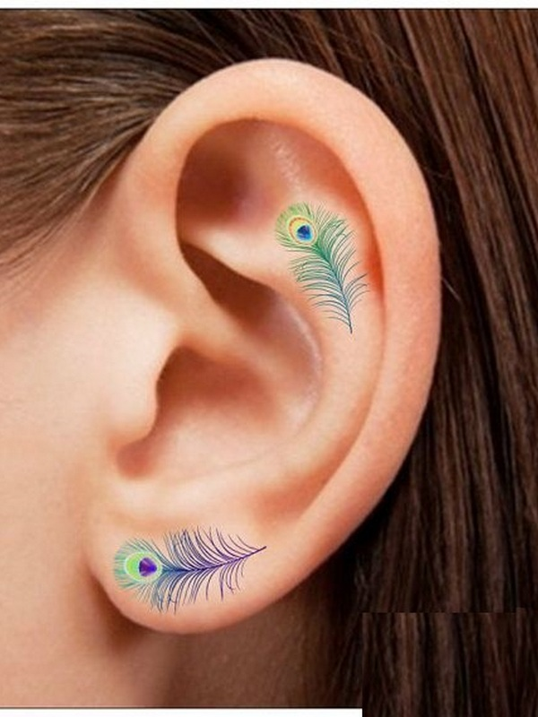 Lovely Colorful Peacock Feather Tattoo On Ear