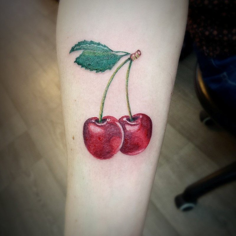 Lovely Tasty Cherry Fruit Tattoo On Men Sleeve