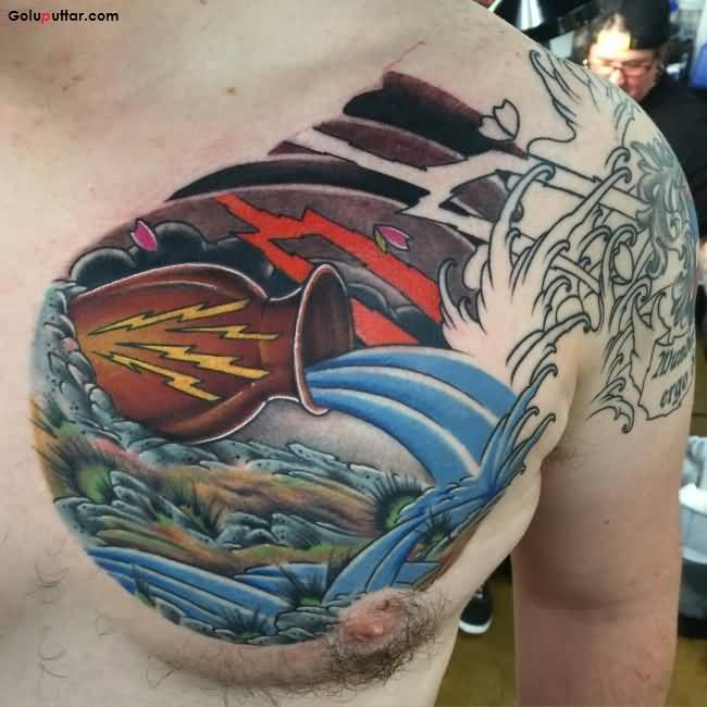 Men Chest Decorated With 3d Aquarius Tattoo Design
