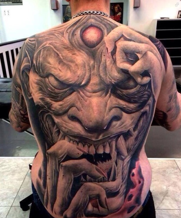 Mind Blowing 3d Devil Face Tattoo On Men Full Back