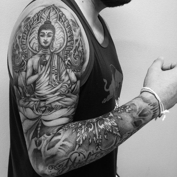 Mind Blowing Buddhist Tattoo For Men Full Sleeve
