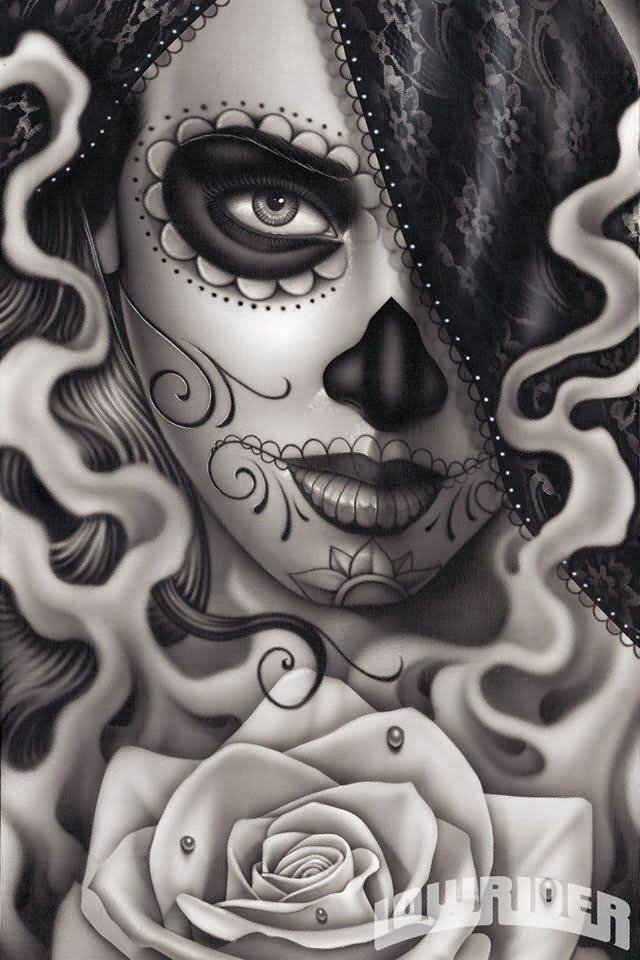 Mind Blowing Dia De Los Muertos Tattoo Design With Rose