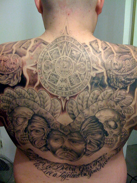 Mind Blowing Grey Ink Aztec Tattoo For Men Back