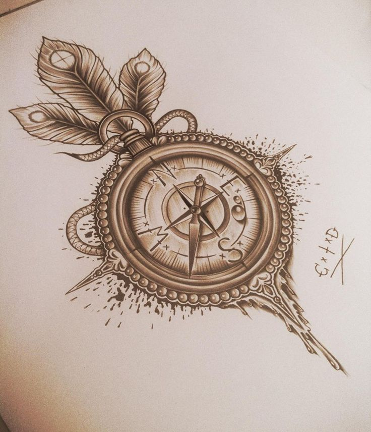 Mind Blowing Traditional Compass Tattoo Design On Paper