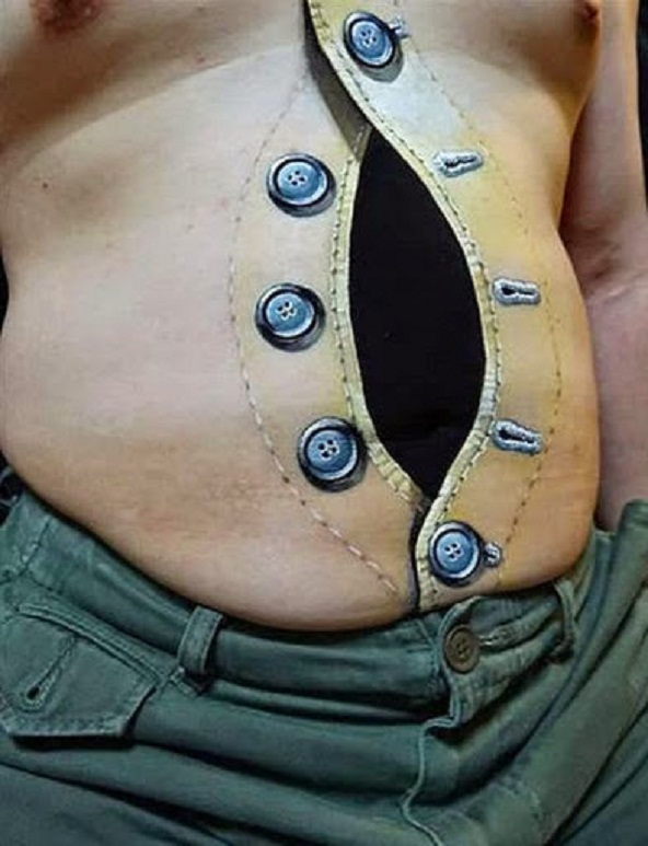 Mind Boggling 3D Stomach Tattoo Design For Men