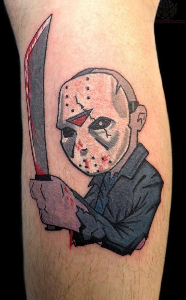 Most Scary Jason Cartoon Mask Tattoo Design
