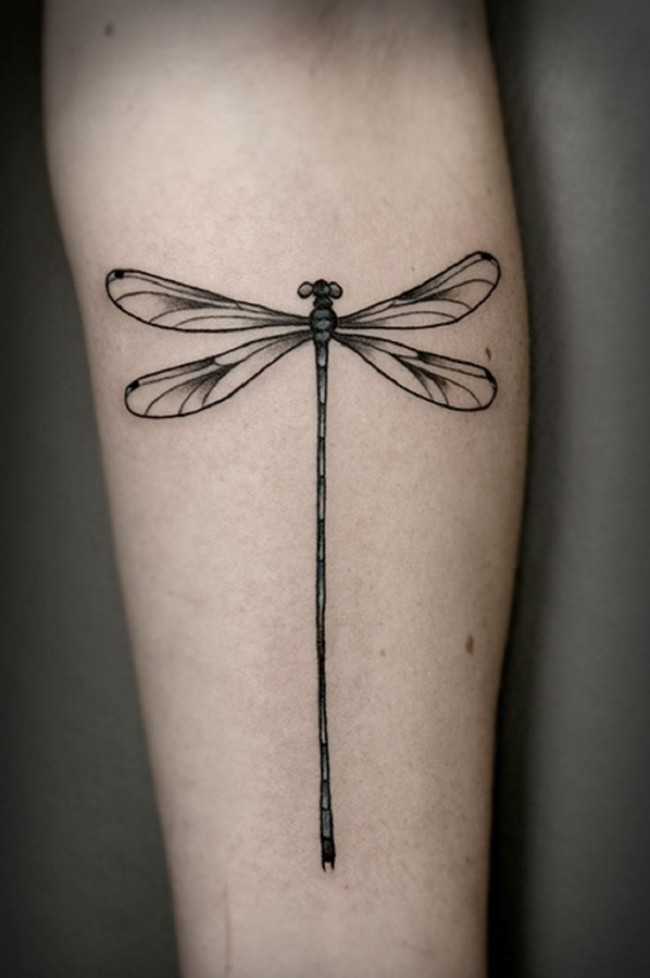 Neat And Clean Dragonfly Tattoo Design On Men Arm