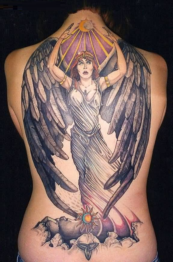 Nice Animated American With Big Wings Tattoo Sun Tattoo On Back