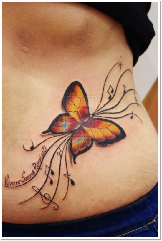 Nice Colorful Flying Butterfly Tattoo On Women Ribs