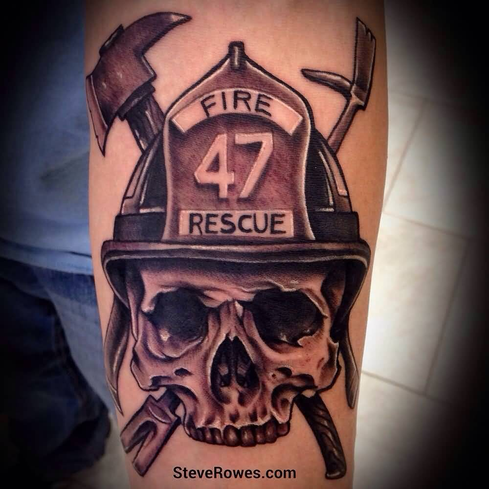 Nice Firefighter Skull Tattoo On Men Sleeve