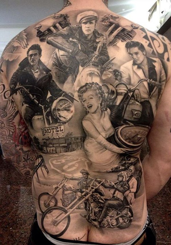Old American Culture Tattoo On Men Back