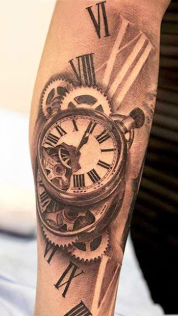 Old Broken Antique Pocket Clock Tattoo On Men Sleeve