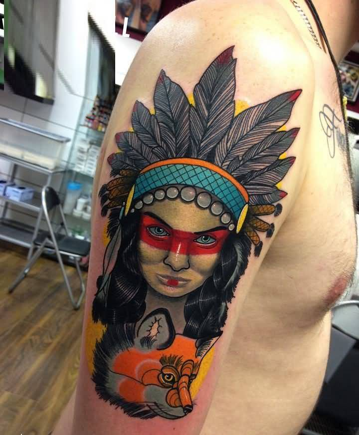 Old Native Green Face Girl Tattoo On Men Upper Arm