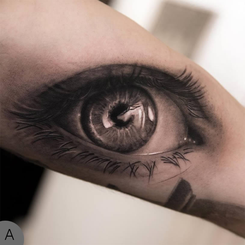Outstanding Best 3d Eye Tattoo On Back Arm