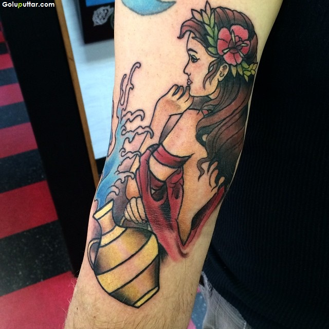 Perfect 3d Girl Aquarius Tattoo On Elbow
