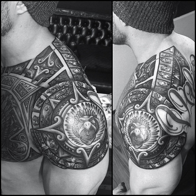 Perfect Aztec Eagle Mask Tattoo Made on Men Shoulder