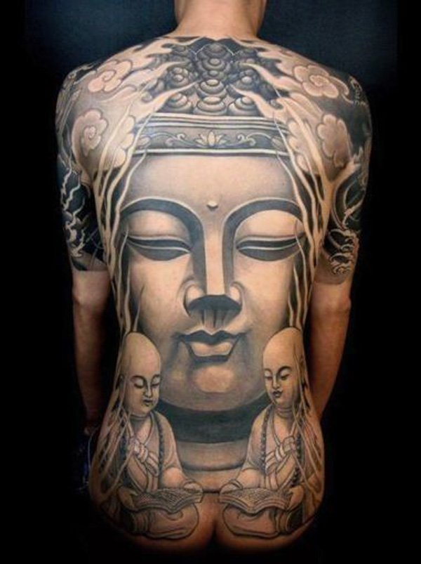Perfect Buddha Face Tattoo On Men Back