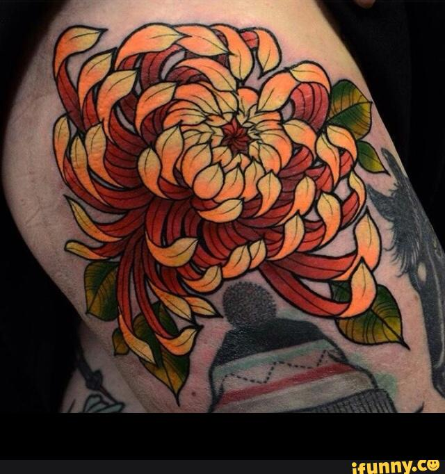 Pink Chrysanthemum And Cake Tattoo Made On Shoulder