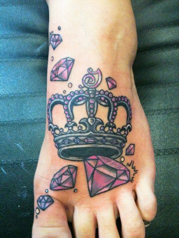Purple Crown And  Diamonds Tattoo On Girl Foot