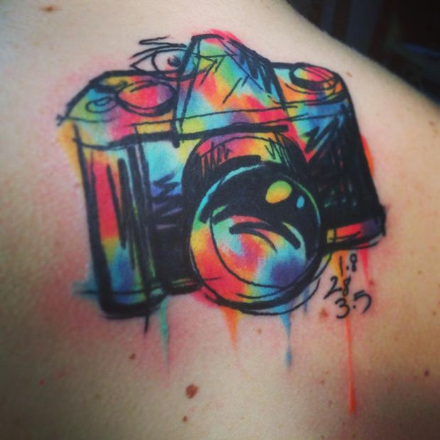 Rainbow Color Camera Tattoo On Men Back