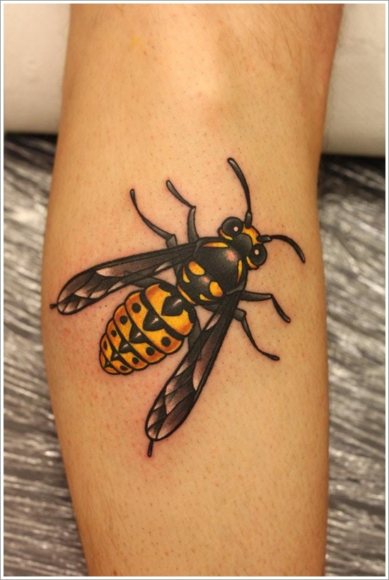 Real 3D Bumblebee Tattoo Design Made On Calf