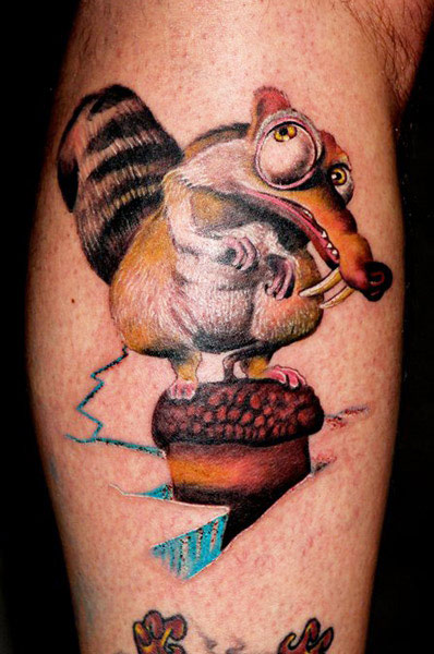 Real 3D Ice Age Cartoon Tattoo On Sleeve