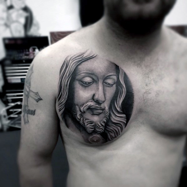 Real 3d Christian Jesus Face Tattoo On Men Chest